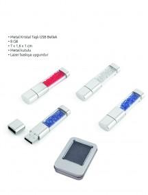 8 GB Metal Kristal Taşlı USB Bellek NR1606